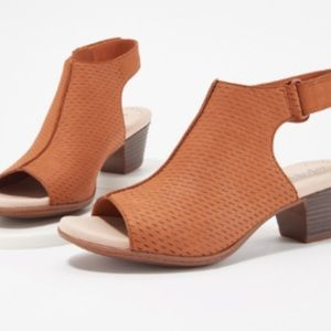 Clarks Leather Heeled Sandals- Valarie James